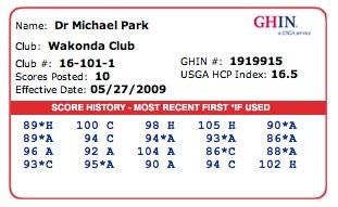 handicap card - Fake Golf Handicap Certificate Template